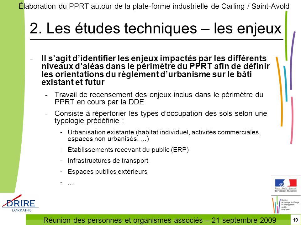 Réunion des personnes et organismes associés – 21 septembre 2009 Élaboration du PPRT autour de la plate-forme industrielle de Carling / Saint-Avold 10