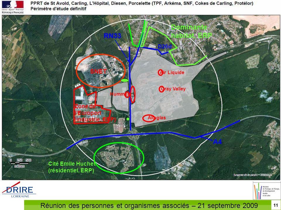 Réunion des personnes et organismes associés – 21 septembre 2009 Élaboration du PPRT autour de la plate-forme industrielle de Carling / Saint-Avold 11