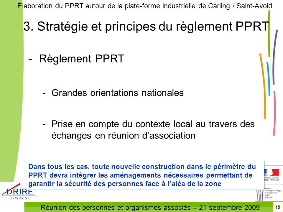 Réunion des personnes et organismes associés – 21 septembre 2009 Élaboration du PPRT autour de la plate-forme industrielle de Carling / Saint-Avold 15
