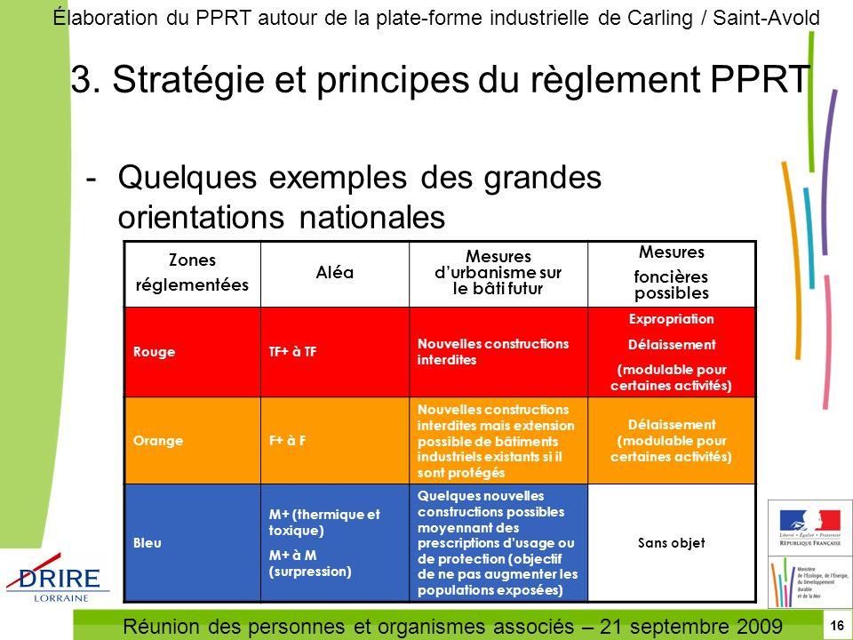 Réunion des personnes et organismes associés – 21 septembre 2009 Élaboration du PPRT autour de la plate-forme industrielle de Carling / Saint-Avold 16