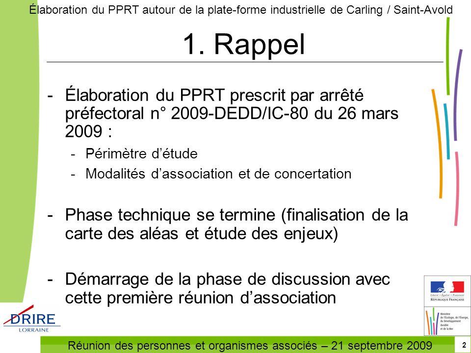 Réunion des personnes et organismes associés – 21 septembre 2009 Élaboration du PPRT autour de la plate-forme industrielle de Carling / Saint-Avold 2