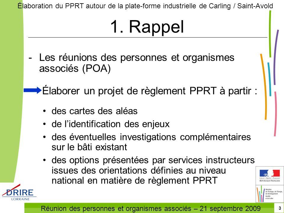 Réunion des personnes et organismes associés – 21 septembre 2009 Élaboration du PPRT autour de la plate-forme industrielle de Carling / Saint-Avold 3