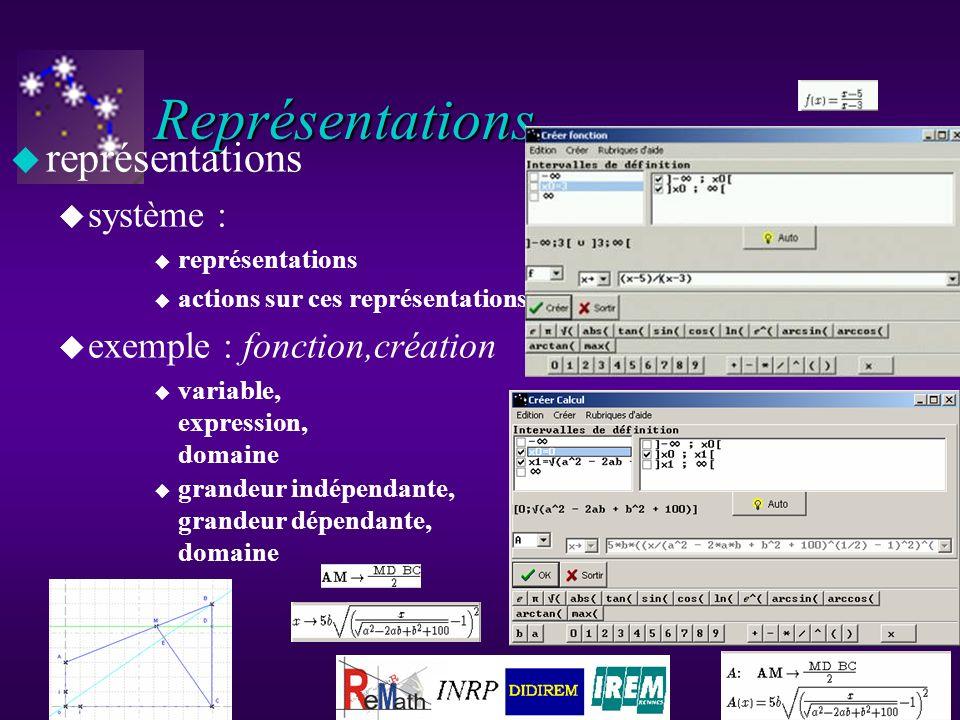 Représentations u représentations u système : u représentations u actions sur ces représentations u exemple : fonction,création u variable, expression, domaine u grandeur indépendante, grandeur dépendante, domaine