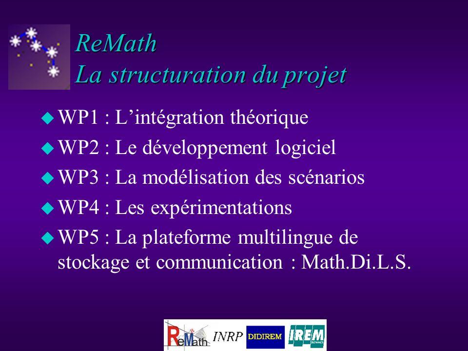 ReMath La structuration du projet u WP1 : Lintégration théorique u WP2 : Le développement logiciel u WP3 : La modélisation des scénarios u WP4 : Les expérimentations u WP5 : La plateforme multilingue de stockage et communication : Math.Di.L.S.