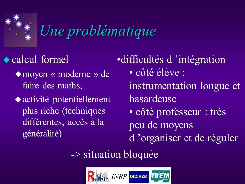 Conception générale u partir d un noyau de calcul formel (les primitives les plus courantes, noyau DERIVE, TI-92, Mupad, Maple ), u construire une environnement en fonction d un projet d utilisation pédagogique du calcul formel