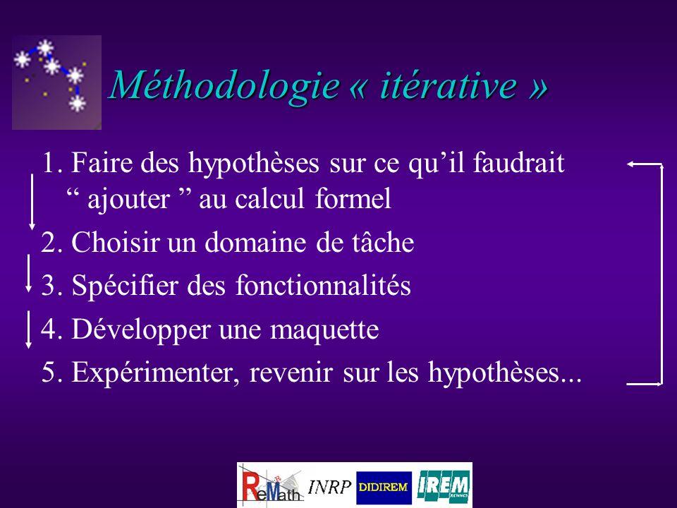 Méthodologie « itérative » 1. Faire des hypothèses sur ce quil faudrait ajouter au calcul formel 2.