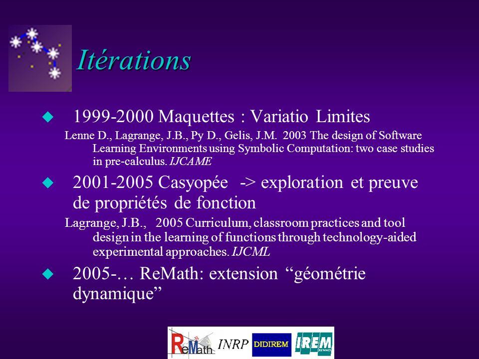 Itérations u 1999-2000 Maquettes : Variatio Limites Lenne D., Lagrange, J.B., Py D., Gelis, J.M.