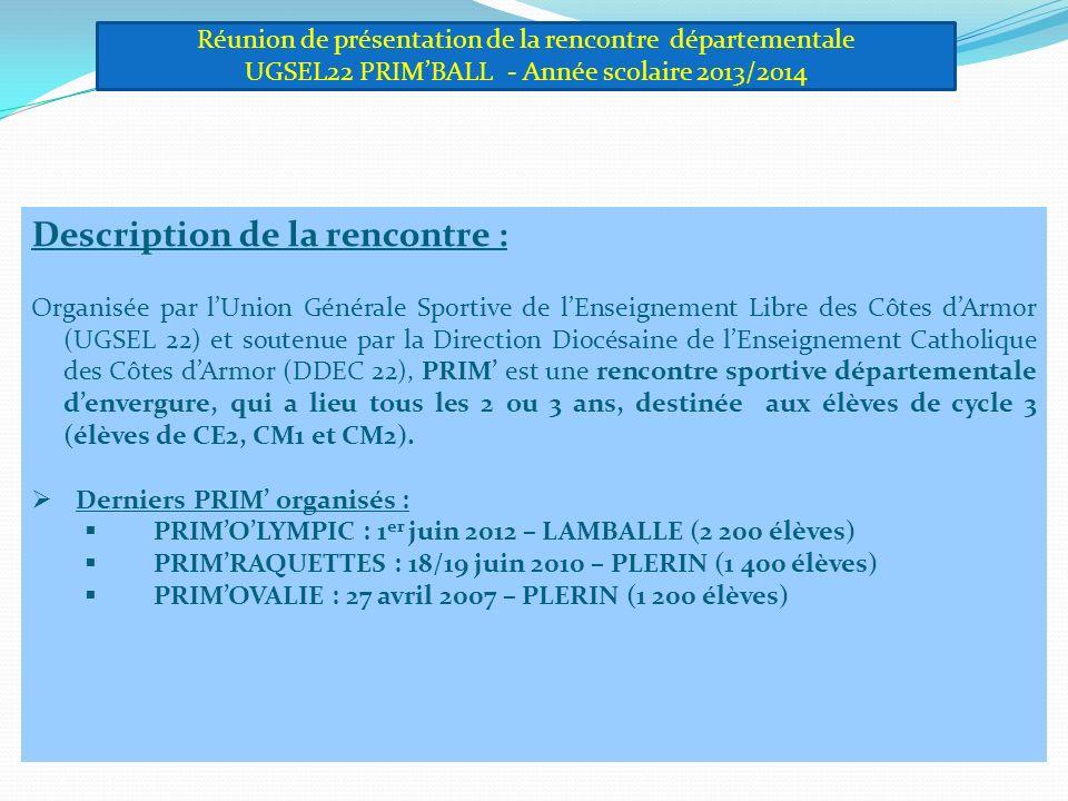 Description de la rencontre : Organisée par lUnion Générale Sportive de lEnseignement Libre des Côtes dArmor (UGSEL 22) et soutenue par la Direction Diocésaine de lEnseignement Catholique des Côtes dArmor (DDEC 22), PRIM est une rencontre sportive départementale denvergure, qui a lieu tous les 2 ou 3 ans, destinée aux élèves de cycle 3 (élèves de CE2, CM1 et CM2).