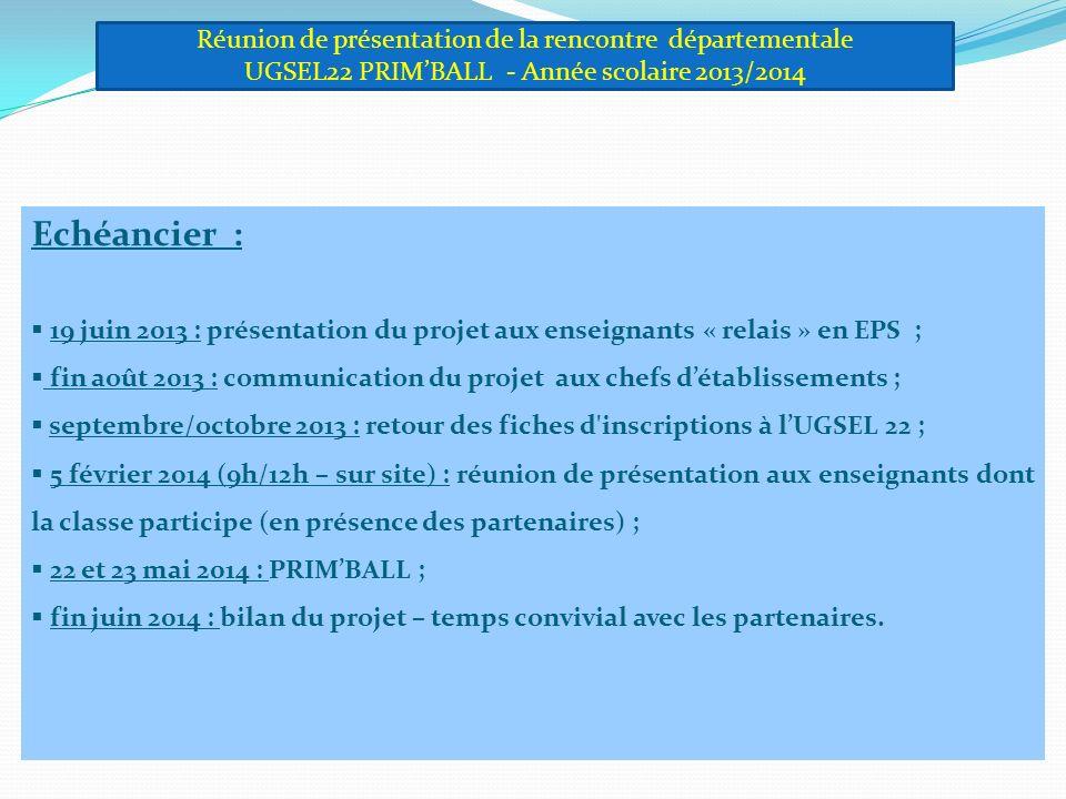 Echéancier : 19 juin 2013 : présentation du projet aux enseignants « relais » en EPS ; fin août 2013 : communication du projet aux chefs détablissements ; septembre/octobre 2013 : retour des fiches d inscriptions à lUGSEL 22 ; 5 février 2014 (9h/12h – sur site) : réunion de présentation aux enseignants dont la classe participe (en présence des partenaires) ; 22 et 23 mai 2014 : PRIMBALL ; fin juin 2014 : bilan du projet – temps convivial avec les partenaires.
