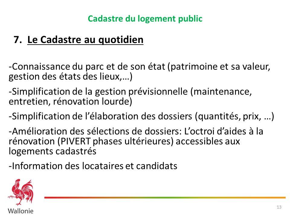 Cadastre du logement public -Connaissance du parc et de son état (patrimoine et sa valeur, gestion des états des lieux,…) -Simplification de la gestio