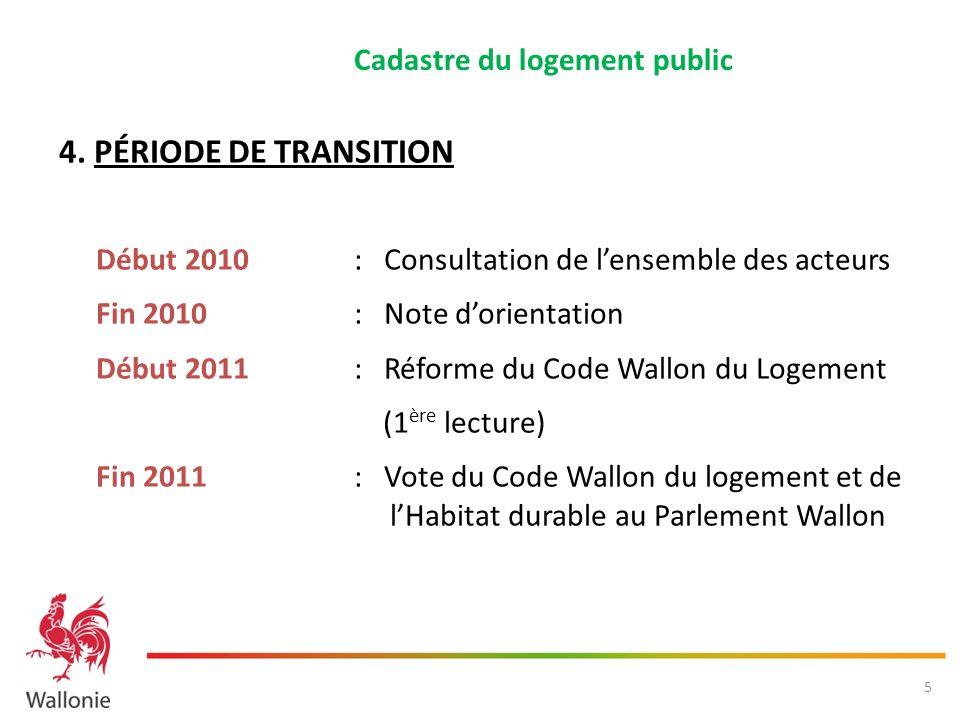 4. PÉRIODE DE TRANSITION Début 2010 : Consultation de lensemble des acteurs Fin 2010 : Note dorientation Début 2011 : Réforme du Code Wallon du Logeme