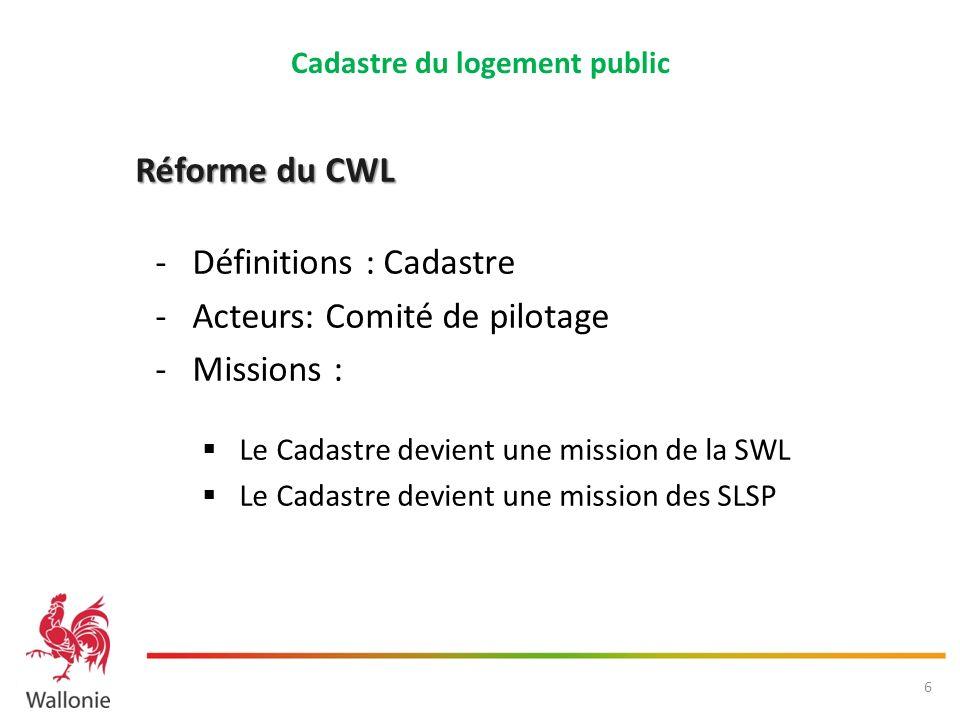 Réforme du CWL - Définitions : Cadastre -Acteurs: Comité de pilotage -Missions : Le Cadastre devient une mission de la SWL Le Cadastre devient une mis