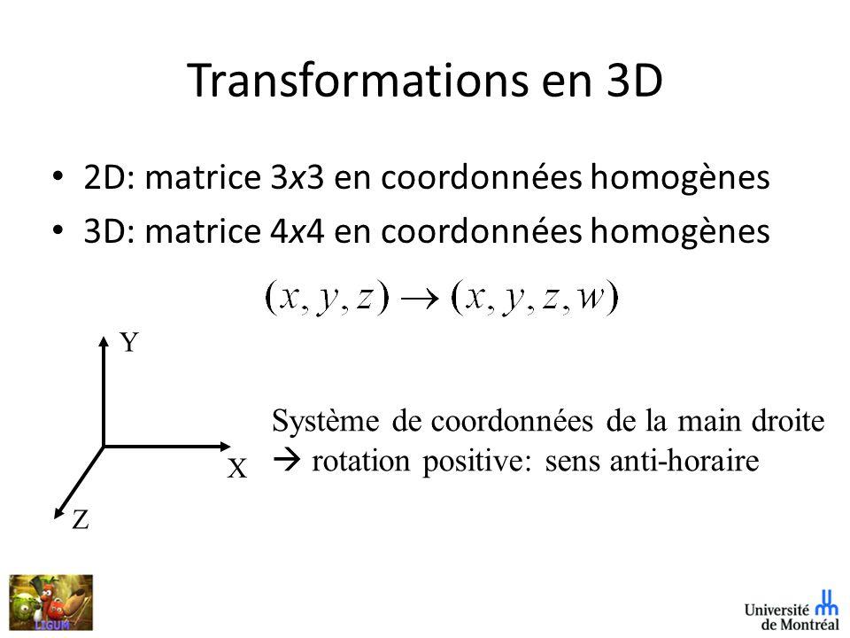 Transformations en 3D 2D: matrice 3x3 en coordonnées homogènes 3D: matrice 4x4 en coordonnées homogènes X Y Z Système de coordonnées de la main droite rotation positive: sens anti-horaire
