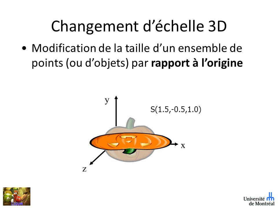 Changement déchelle 3D Modification de la taille dun ensemble de points (ou dobjets) par rapport à lorigine S(1.5,-0.5,1.0) z y x