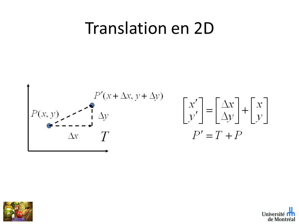Rotation 3D Fait tourner dun angle un ensemble de points (ou objets) autour dun axe de rotation.