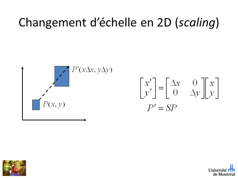 Transformation de normales Points, tangentes, vecteurs fonctionnent avec les matrices standards Normale à la surface fonctionne différemment