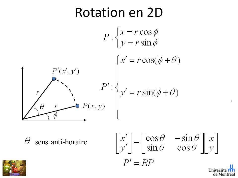 Combinaisons de matrices de transformation +efficacité – une seule matrice composée est utilisée au lieu dune série de matrices {R,T} – Sont des transformation rigid-body préserve les longueurs et les angles {R,T,S} – transformation affine préserve le parallélisme des lignes (mais pas les longueurs ni les angles)