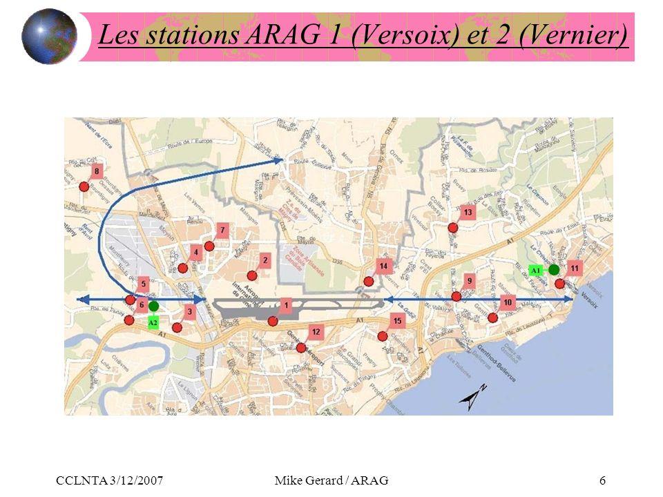 CCLNTA 3/12/2007Mike Gerard / ARAG6 Les stations ARAG 1 (Versoix) et 2 (Vernier)