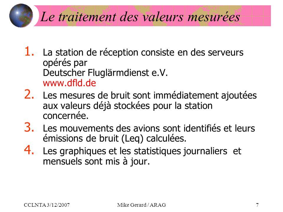 CCLNTA 3/12/2007Mike Gerard / ARAG7 Le traitement des valeurs mesurées 1.