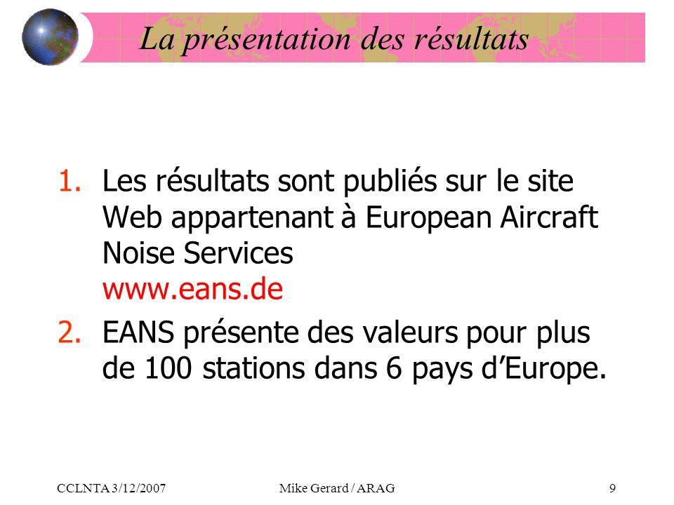 CCLNTA 3/12/2007Mike Gerard / ARAG9 La présentation des résultats 1.Les résultats sont publiés sur le site Web appartenant à European Aircraft Noise Services www.eans.de 2.EANS présente des valeurs pour plus de 100 stations dans 6 pays dEurope.