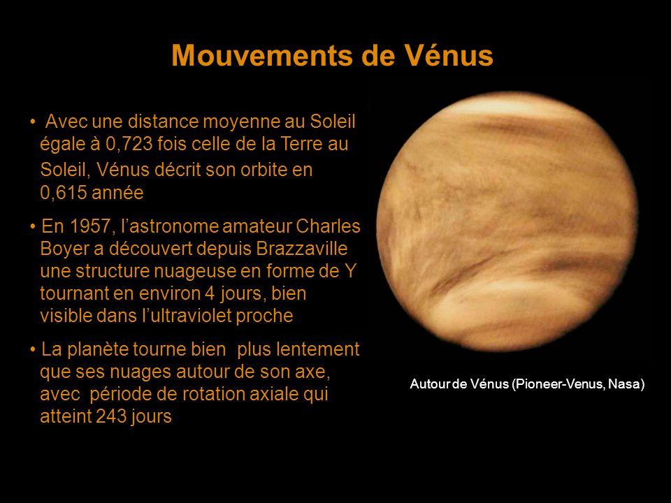 Mouvements de Vénus Avec une distance moyenne au Soleil égale à 0,723 fois celle de la Terre au Soleil, Vénus décrit son orbite en 0,615 année En 1957