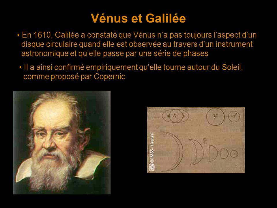 Vénus et Galilée En 1610, Galilée a constaté que Vénus na pas toujours laspect dun disque circulaire quand elle est observée au travers dun instrument