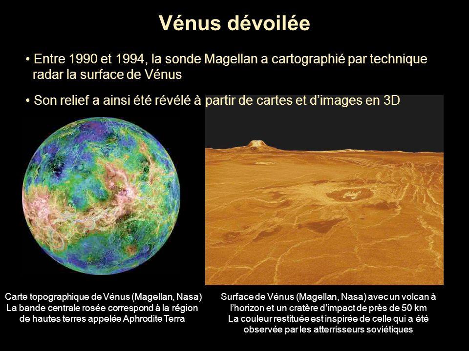 Vénus dévoilée Entre 1990 et 1994, la sonde Magellan a cartographié par technique radar la surface de Vénus Son relief a ainsi été révélé à partir de