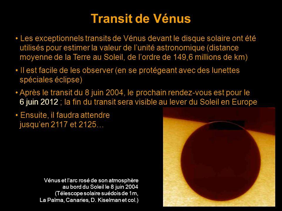 Transit de Vénus Les exceptionnels transits de Vénus devant le disque solaire ont été utilisés pour estimer la valeur de lunité astronomique (distance