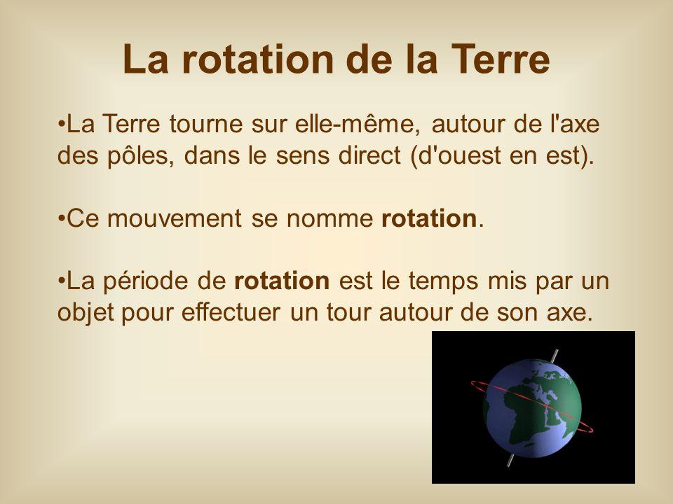 La Terre tourne sur elle-même, autour de l'axe des pôles, dans le sens direct (d'ouest en est). Ce mouvement se nomme rotation. La période de rotation