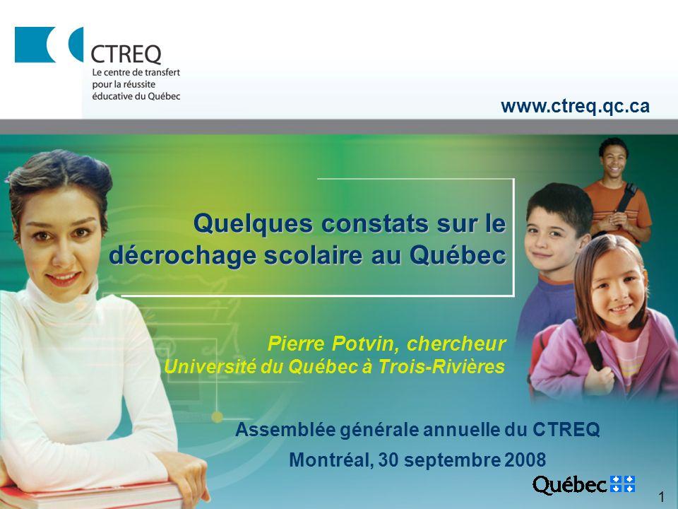 1 Pierre Potvin, chercheur Université du Québec à Trois-Rivières www.ctreq.qc.ca Quelques constats sur le décrochage scolaire au Québec Assemblée générale annuelle du CTREQ Montréal, 30 septembre 2008