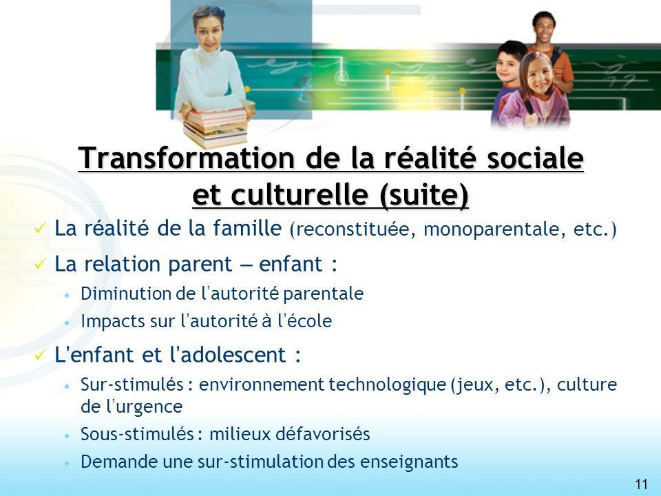 11 Transformation de la réalité sociale et culturelle (suite) La r é alit é de la famille (reconstitu é e, monoparentale, etc.) La relation parent – e