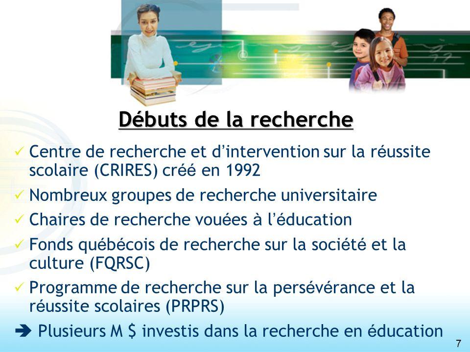 7 Débuts de la recherche Centre de recherche et d intervention sur la r é ussite scolaire (CRIRES) cr éé en 1992 Nombreux groupes de recherche univers