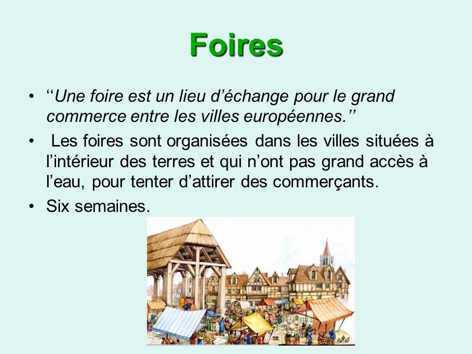 Foires Une foire est un lieu déchange pour le grand commerce entre les villes européennes.