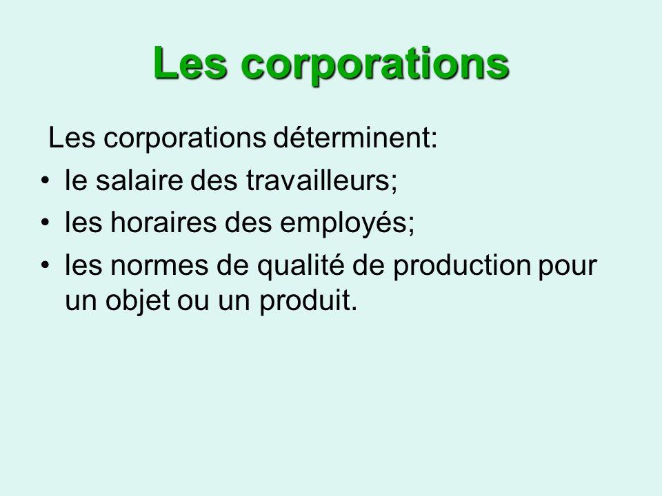 Les corporations Les corporations déterminent: le salaire des travailleurs; les horaires des employés; les normes de qualité de production pour un objet ou un produit.