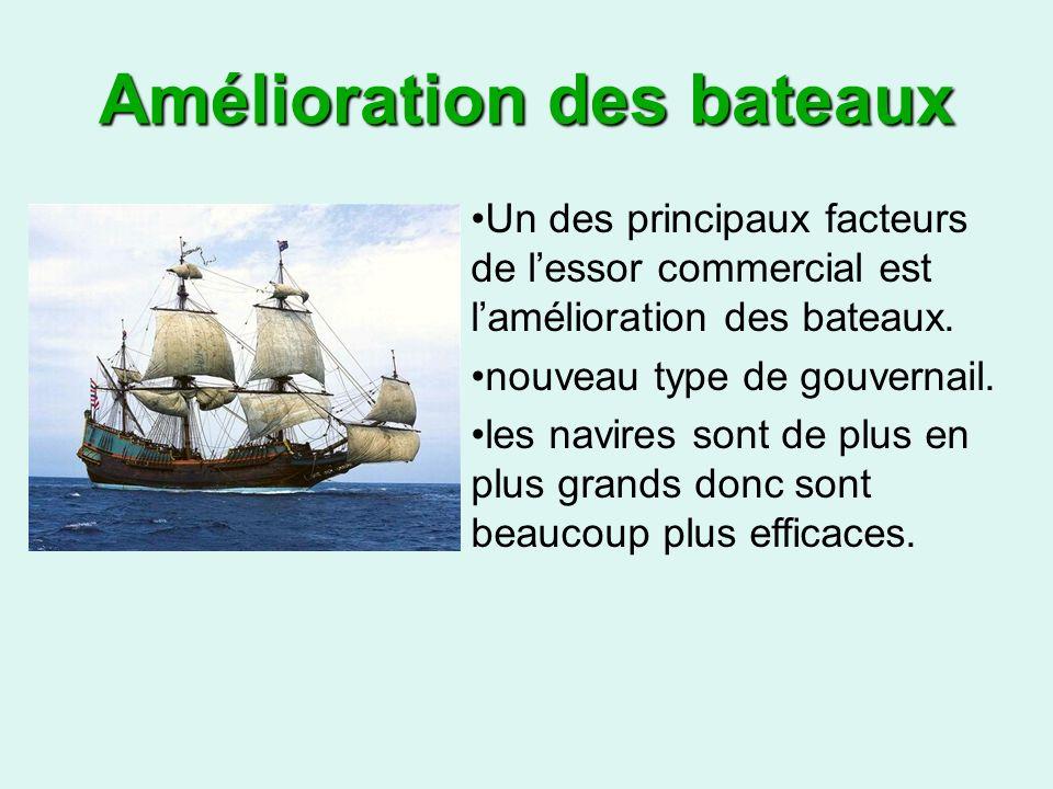 Amélioration des bateaux Un des principaux facteurs de lessor commercial est lamélioration des bateaux.