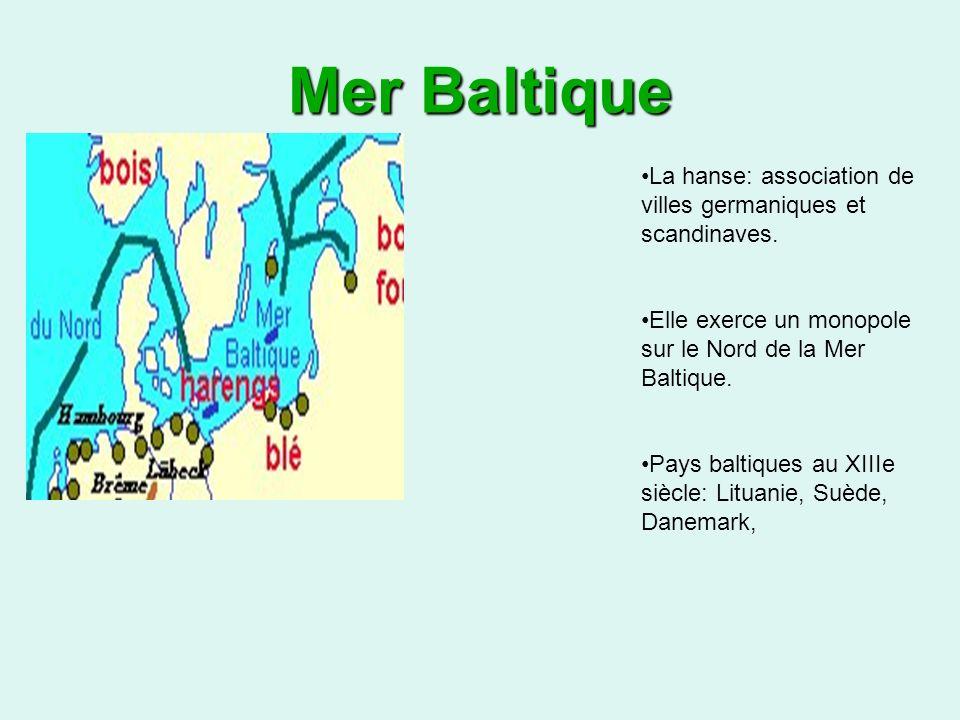 Mer Baltique La hanse: association de villes germaniques et scandinaves.
