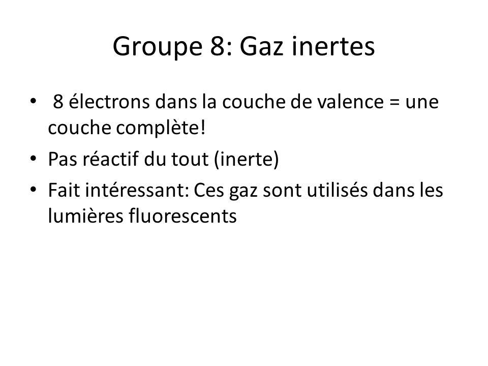 Groupe 8: Gaz inertes 8 électrons dans la couche de valence = une couche complète! Pas réactif du tout (inerte) Fait intéressant: Ces gaz sont utilisé