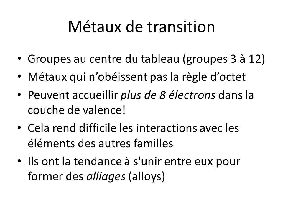 Métaux de transition Groupes au centre du tableau (groupes 3 à 12) Métaux qui nobéissent pas la règle doctet Peuvent accueillir plus de 8 électrons da