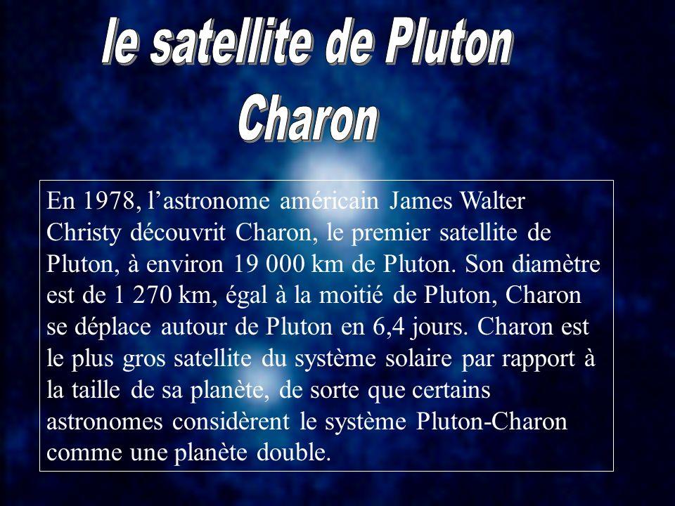 En 1978, lastronome américain James Walter Christy découvrit Charon, le premier satellite de Pluton, à environ 19 000 km de Pluton. Son diamètre est d