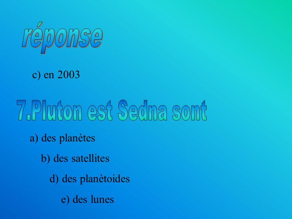 c) en 2003 a) des planètes b) des satellites d) des planètoides e) des lunes