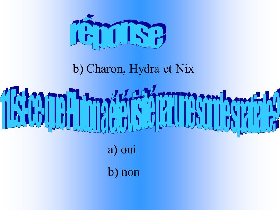 b) Charon, Hydra et Nix a) oui b) non