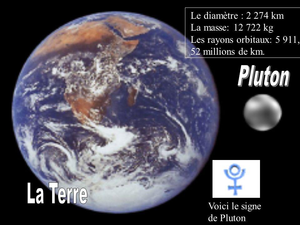 Le diamètre : 2 274 km La masse: 12 722 kg Les rayons orbitaux: 5 911, 52 millions de km. Voici le signe de Pluton