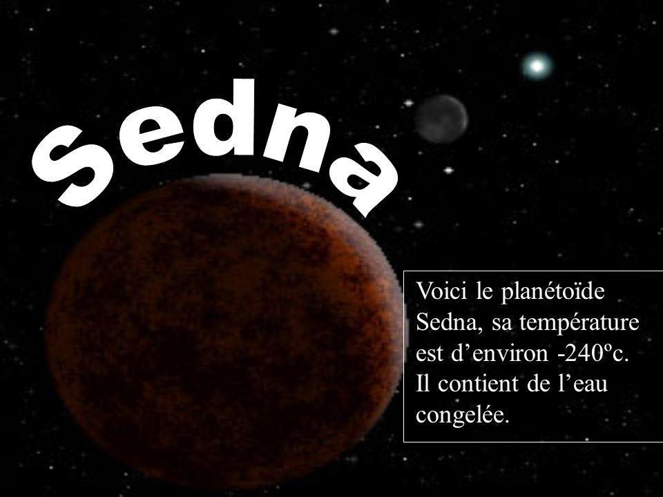 Voici le planétoїde Sedna, sa température est denviron -240ºc. Il contient de leau congelée.
