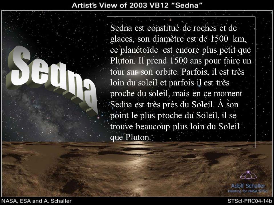 Sedna est constitué de roches et de glaces, son diamètre est de 1500 km, ce planétoїde est encore plus petit que Pluton. Il prend 1500 ans pour faire