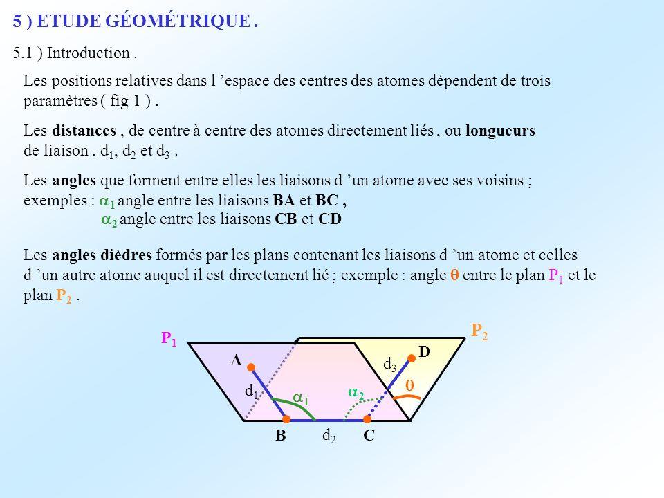 5 ) ETUDE GÉOMÉTRIQUE. 5.1 ) Introduction. Les positions relatives dans l espace des centres des atomes dépendent de trois paramètres ( fig 1 ). Les d