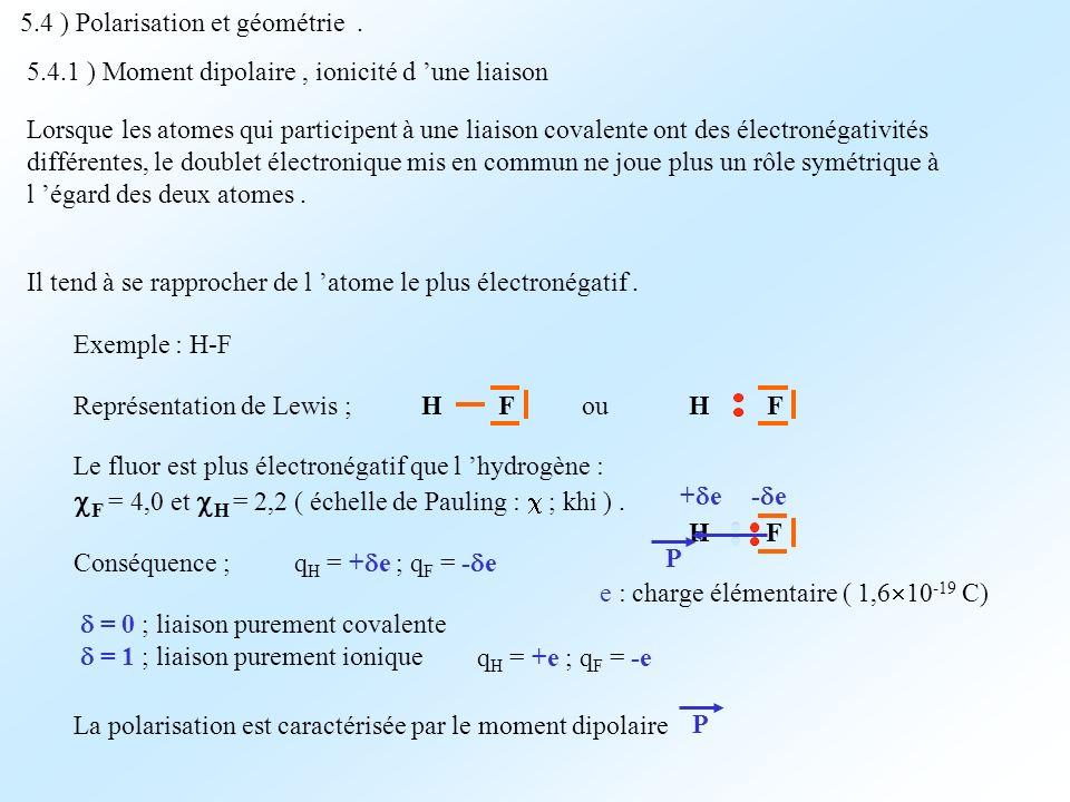 5.4 ) Polarisation et géométrie. Lorsque les atomes qui participent à une liaison covalente ont des électronégativités différentes, le doublet électro
