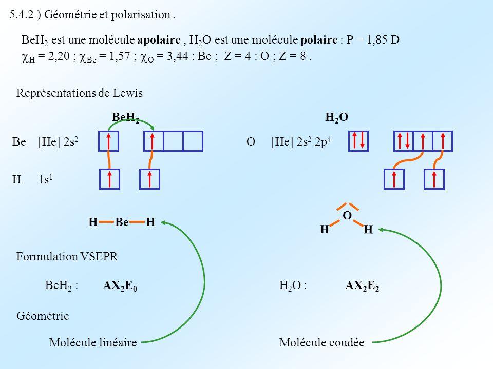 5.4.2 ) Géométrie et polarisation. BeH 2 est une molécule apolaire, H 2 O est une molécule polaire : P = 1,85 D H = 2,20 ; Be = 1,57 ; O = 3,44 : Be ;