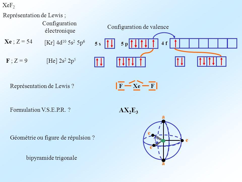 XeF 2 Représentation de Lewis ; Xe ; Z = 54 Configuration électronique [Kr] 4d 10 5s 2 5p 6 Configuration de valence 5 s5 p F ; Z = 9[He] 2s 2 2p 5 4 f Représentation de Lewis .