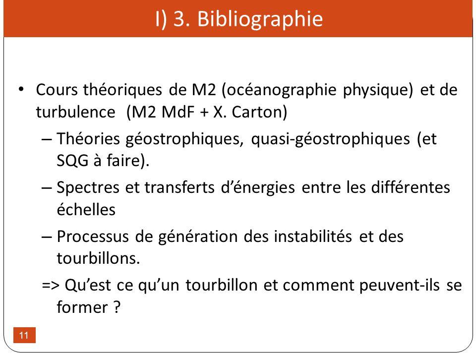 11 I) 3. Bibliographie Cours théoriques de M2 (océanographie physique) et de turbulence (M2 MdF + X. Carton) – Théories géostrophiques, quasi-géostrop