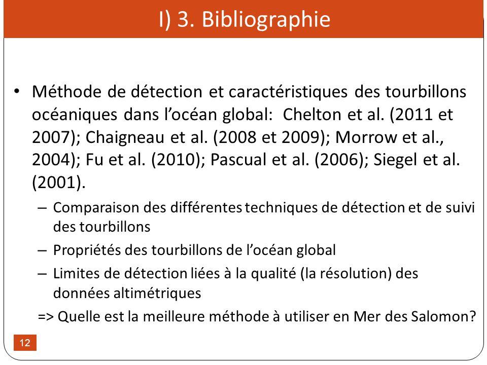 12 I) 3. Bibliographie Méthode de détection et caractéristiques des tourbillons océaniques dans locéan global: Chelton et al. (2011 et 2007); Chaignea